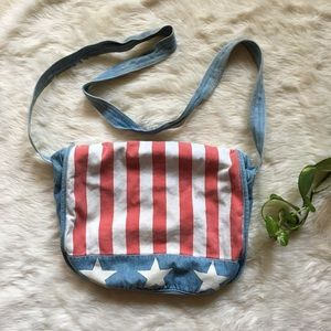1990s vintage denim USA American Flag Messenger